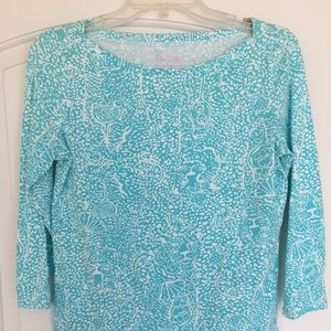 Lilly Pulitzer Turquoise and white top Size M